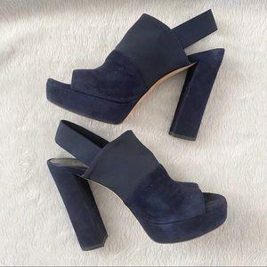 Stuart Weitzman Suede Platform Block Heel Sandals